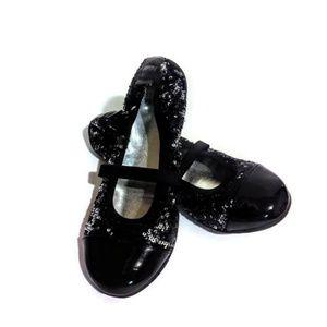 Stuart Weitzman Girl Black Sparkle Flats Sz 3.5